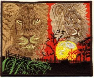 Tier-Aufnäher - gestickte Löwen